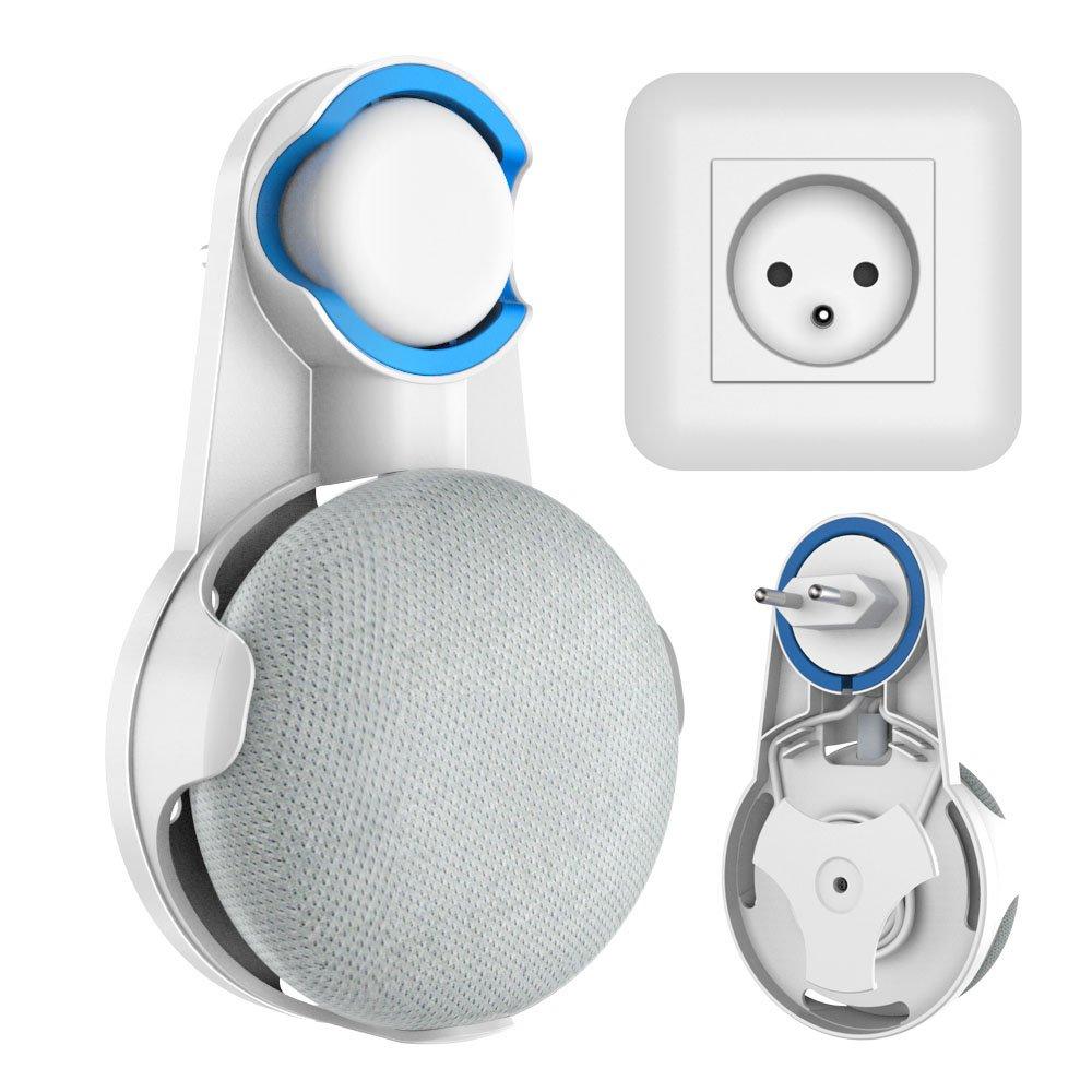 Wigoo Google Home Mini Presa da Parete, Supporto per Hanger per Google Voice Assistant, Soluzione Tidy per il tuo Altoparlante Smart Home Senza Fili o Adesivi Disordinati, Adatto per Cucina, Bagno e Camera da Letto  (Nero) ST003-Black