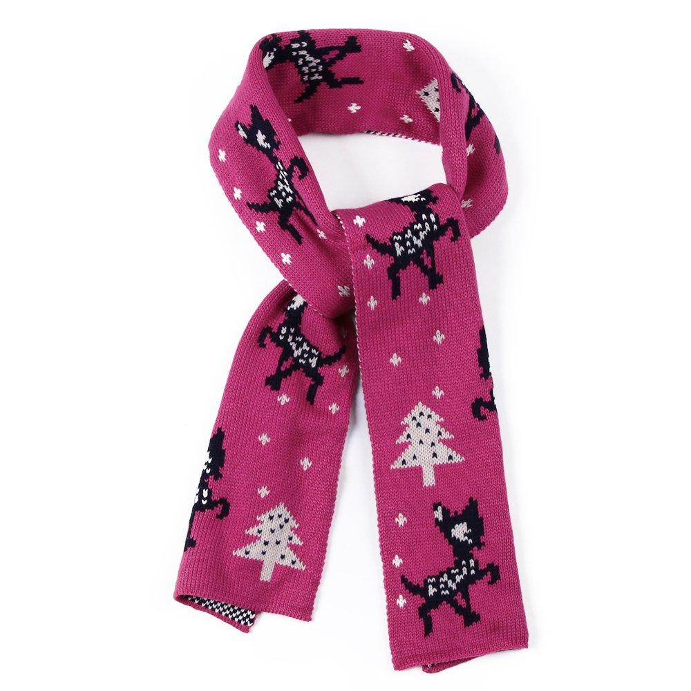 FASISA Winter Kids Scarf Knitted Soft Infinity Warm Gift Shawl Scarf (Rose)