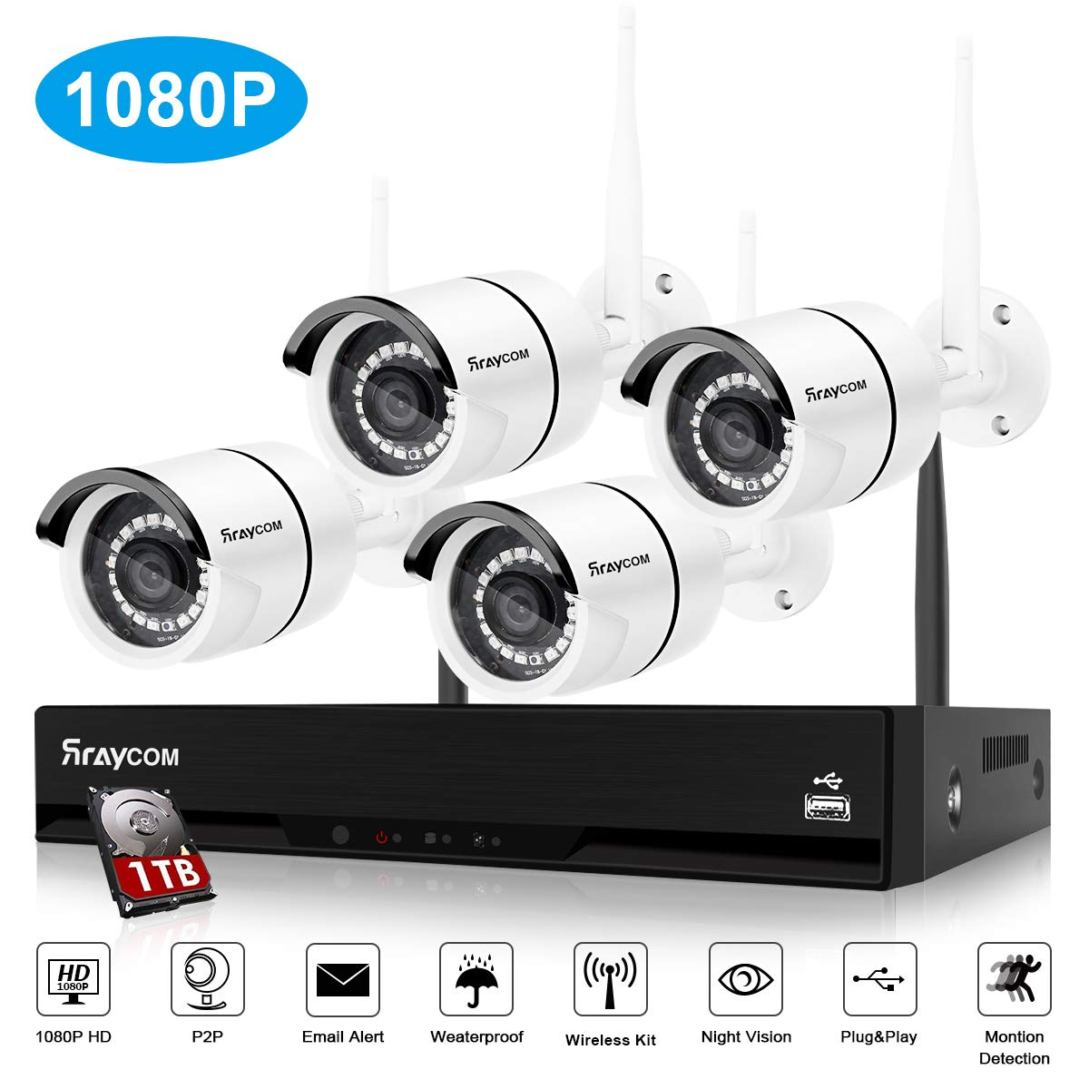 Rraycom 4Channel 1080H DVR 2000TVL 720P HD Outdoor Home Security Surveillance Camera System with 1TB Hard Drive White 1080P 4 Cameras 1TB