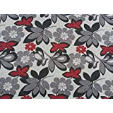 PRESTIGE FABRICS Tapestry fabric Floral flowers Victorian Upholstery Vintage Curtains, Cushions, Roman Blinds, Duvet Fabric - Per Metre (Red/Black/Grey) by Prestige Fashion UK Ltd