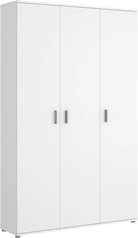 Mobelcenter - Armario Multiusos 3 Puertas - Armario Auxiliar con Escobero - Acabado Color Blanco - Medidas: Ancho: 116 cm x Fondo: 35 cm x Alto: 190 cm - (1212)