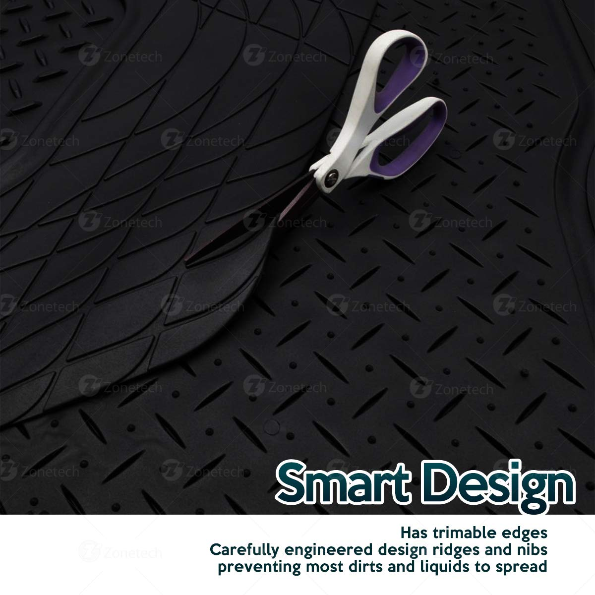 Cargo Floor Mats Black Zone Tech Trimmable for Custom Fit