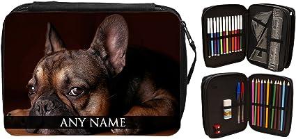 Personalizado Bulldog Francés Animal relleno estuche 124: Amazon.es: Oficina y papelería