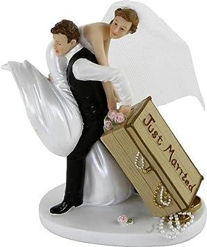 Decoration De Gateau De Mariage Figurine De Couple De Maries Avec Valise Just Married 13 Cm