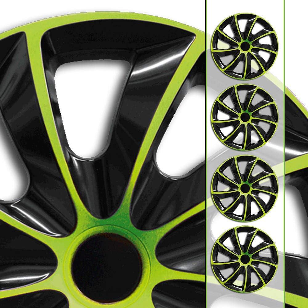 Eight Tec Handelsagentur Farbe Größe Wählbar 14 Zoll Radkappen Radzierblenden Quad Bicolor Schwarz Grün Passend Für Fast Alle Fahrzeugtypen Universal Auto