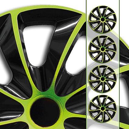 Tapacubos de Koenig Quad bicolor en negro/verde universal de ...