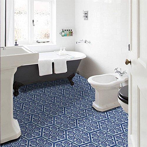 Pattern Ceramic Floor (GanDecor Chinese Style Ceramic Pattern Wall Sticker Floor Decal DIY Art Mural Slip Proof Nursery Bedroom 10 Pcs/set 20x23cm/7.87x9.06)