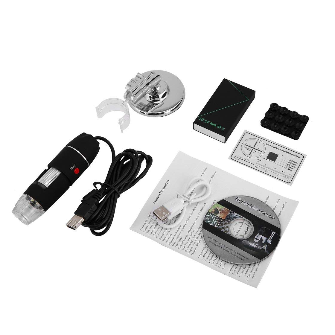 WiFi Digital Microscope 8 LED Due in uno USB Endoscopio Microscopio 1600X Stereo Magnifier elettronico Plug and Play BlackPJenny