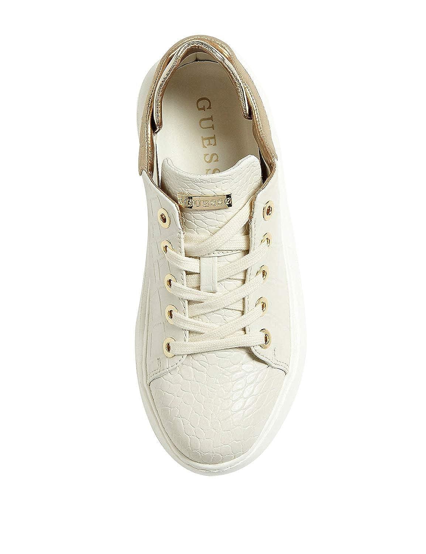 Scarpe donna Guess sneaker Braylin stampa cooco avorio e gold