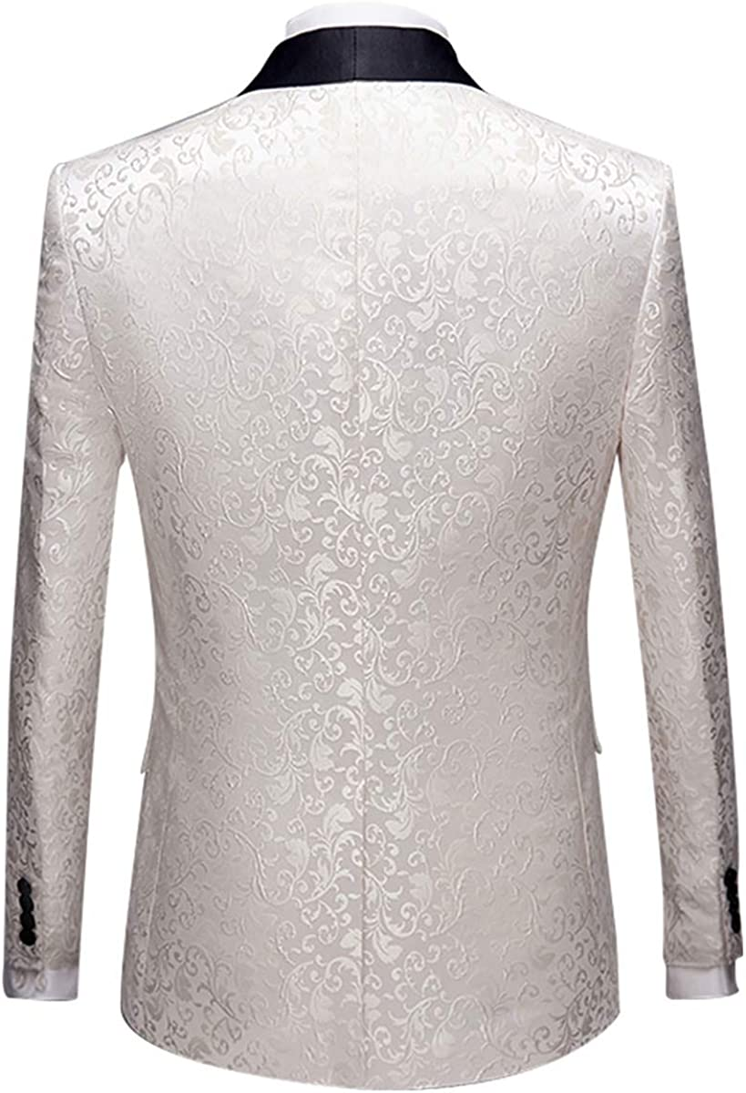 Allthemen Mens Casual Blazer Slim Fit Paisley Floral Jacquard Suit Jackets Stylish Coats Chic Jackets
