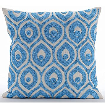 Amazon Blue Decorative Pillows Cover Light Blue Beaded Lattice Delectable Light Blue Decorative Throw Pillows
