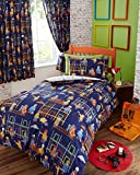 BUILDING SITE CONSTRUCTION JUNIOR BABY BOY COT BED DUVET COVER BEDDING SET BLUE