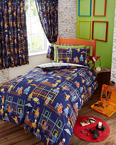 Kids Club Building SITE Construction Junior Baby BOY COT Bed Duvet Cover Bedding Set Blue