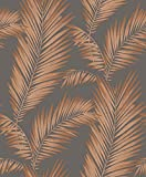Arthouse, Ardita Copper Gray Leaves Wallpaper, Modern Décor