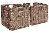 StorageWorks Seagrass Woven Wicker Storage Basket, Foldable Storage Baskets Organizer, Medium,10.2''x10.2''x10.6'', 2-Pack, Extra - Gift Lining