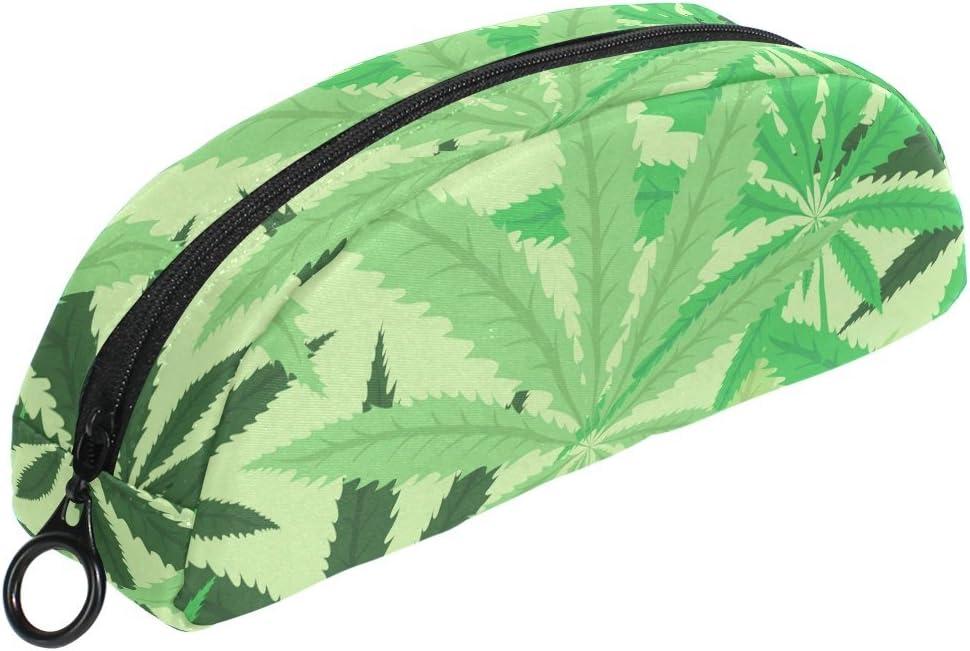 COOSUN - Estuche para lápices de hoja de cannabis semicircular, bolígrafo de papelería, bolsa, soporte para maquillaje, bolsa de cosméticos para mujeres y niñas