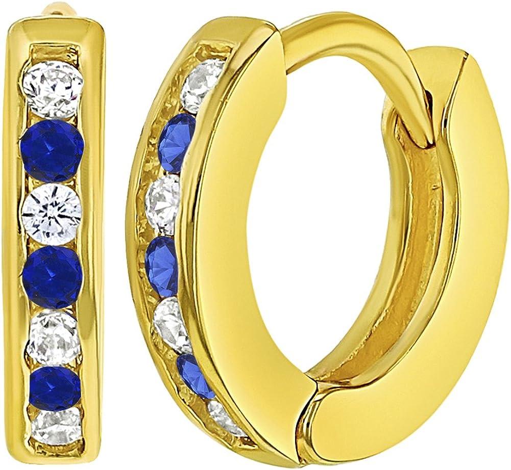 Plaqu/é or 18k Boucles d/'oreilles Zircone Cubique Clair XS B/éb/é Filles 8mm In Season Jewelry Petit Anneau Immense Blue