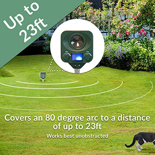 Pestbye Waterproof Cat Repellent Quick Fix Ultrasonic Repeller Cat Scarer with Ground Stake Solar Powered