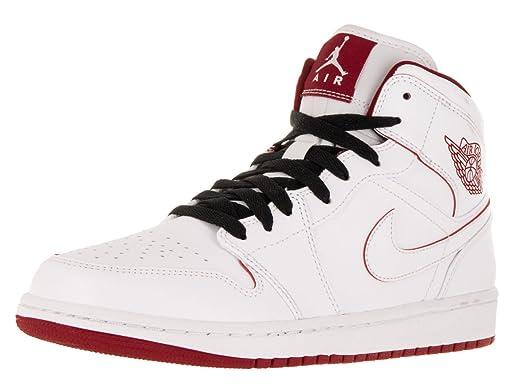 Nike Men's Air Jordan 1 Mid White/Gym Red/Black Basketball Shoe - 15