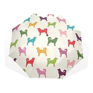 EZIOLY Paraguas de Viaje para Perros, Ligero, Anti Rayos UV, Paraguas de Lluvia