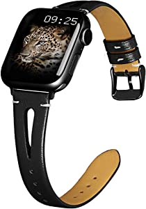 OULUCCI Leather Bands Compatible with Apple Watch 38mm 40mm 42mm 44mm, Slim Strap with Breathable Hole Replacement Wristband for Iwatch Series 5 4 3 2 1