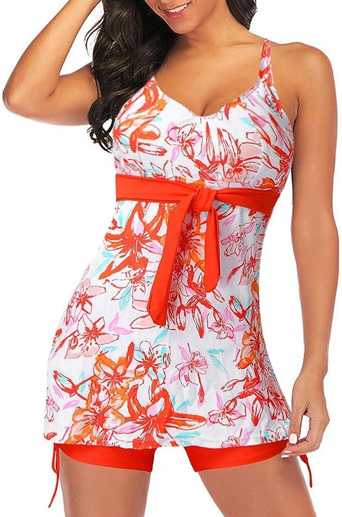 KANGMOON Swimsuits for Women Criss Cross Two Piece Tankini Top with Boyshorts S-XXXL