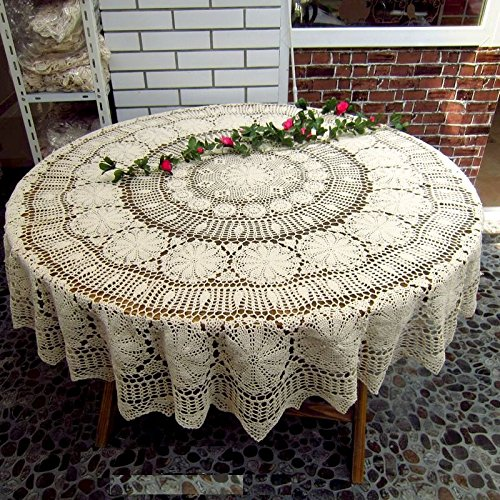 FADFAY Handmade Crochet Round Cotton Tablecloth Beige Table Doily 63/70.6 Round Table Overlay