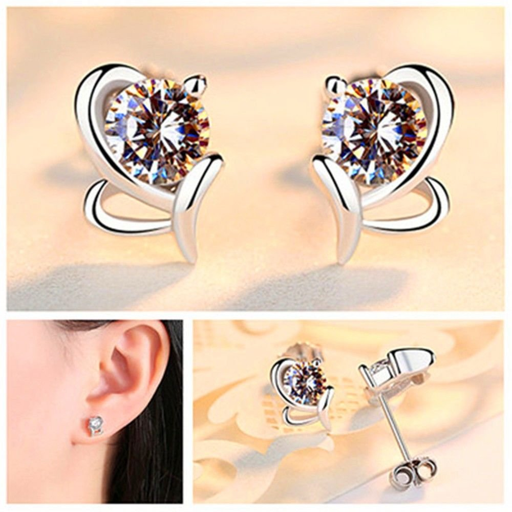 Hydro Language Ling Studs Earrings Hypoallergenic Cartilage Ear Piercing Simple Fashion Earrings Ear Jewelry 925 Sterling Silver Earrings Rhinestone Pearl Zircon