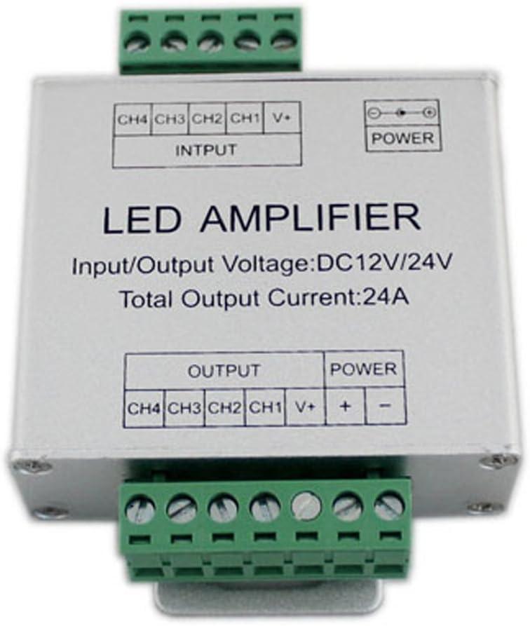 JOYLIT RGBW LED Amplificador de Señal de Datos Repetidor de Aluminio Shell 4 Canales DC12V 24V 4X6A Para RGBW Luces LED Tira