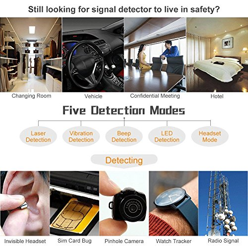 Wireless Camera Detector for Anti Spy Hidden Camera Adjustable Detection Sensitivity Signal Bug RF Detector Finder GSM Voice Device Lens Detector