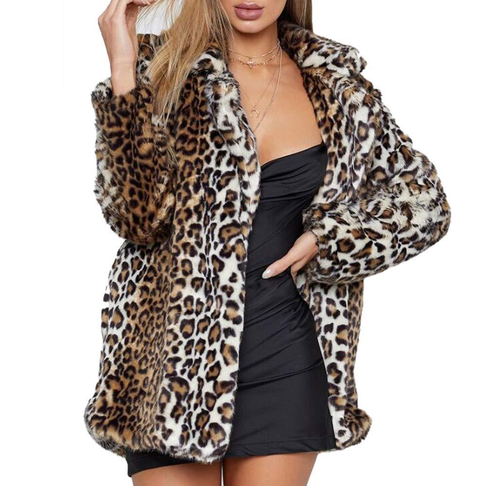 Mambain Cappotti Donna Stampa Leopardo Pelliccia Eleganti Invernali Caldo Manica Lunga Taglie Forti Cardigan Giubbino Capispalla Giacca Giacche Giubbotti