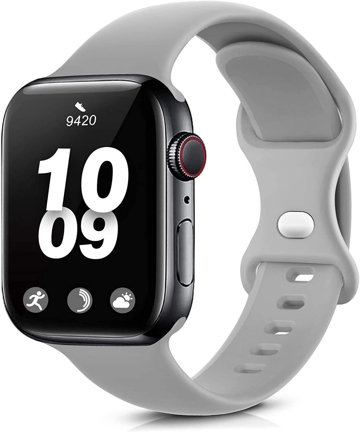 Coinit Sport Band Compatible with Apple Watch Bands 38mm 40mm 42mm 44mm, Soft Silicone Replacement Wristband Compatible with iWatch Series 6 5 4 3 2 1 Women Men Grey 42mm/44mm S/M