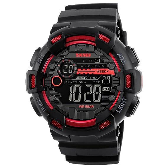 Skmei Reloj Digital Militar Acuático Al Aire Libre Hombre Negro y Rojo Casual Multifuncion Deportivo LED Electrónico Reloj de Pulsera con Cronómetro,Varios ...