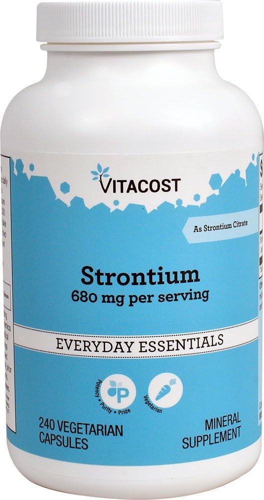 Vitacost Strontium — 680 mg per serving – 240 Vegetarian Capsules