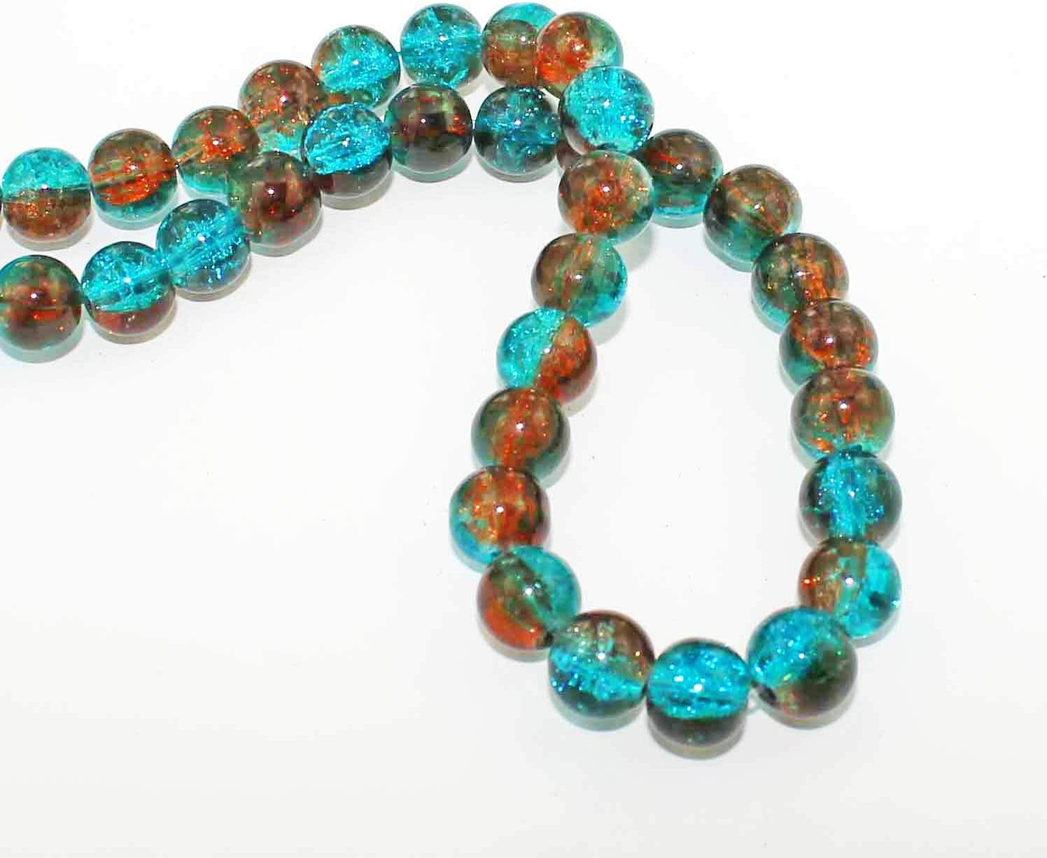 Simply Stunning Tones of Aqua and Sienna BD101 20 Crackle Glass Beads 10mm