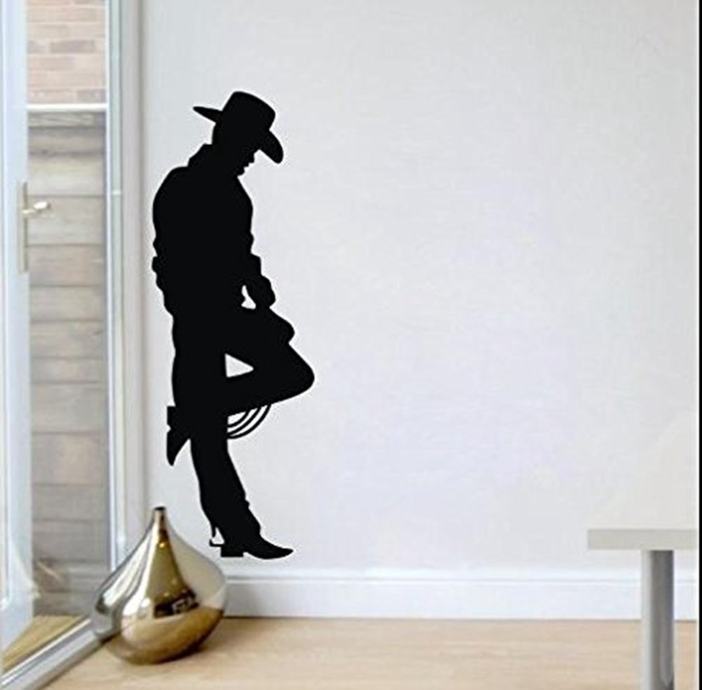 """ColorfulHall 63"""" X 22"""" Black Cowboy on the Wild West Frontier Western Cowboy John Wayne Wall Decal Wall Sticker Removable Vinyl Mural Art Home Boys Room Decoration"""