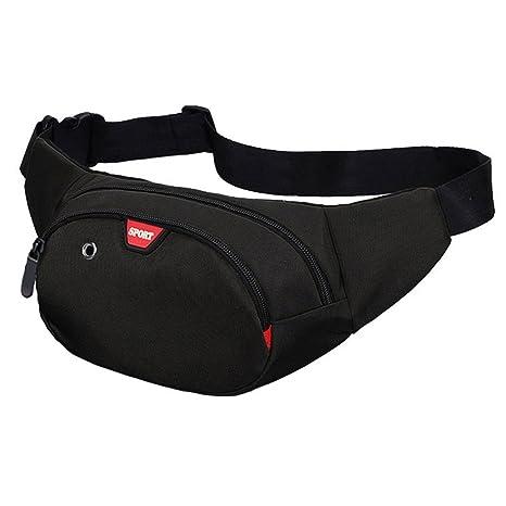 50a2dab978 Yooluan Marsupio Impermeabile di Pelle con 3 Zip-Marsupio per Viaggio,  Escursioni, Sport