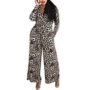 ebe89107dab Long Sleeve Leopard Print Jumpsuit for Women Plus Size Wide Pants Casual  Romper Bravetoshop(Yellow