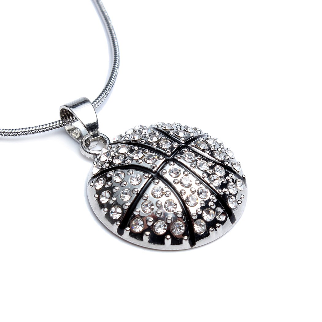 Basketball Pendant Necklace for Women Girl Jewelry Gift - White Crystal NBA Ball Sport