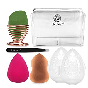 ENERGY Makeup Sponge Blender Set Beauty Sponge Holder Travel Case Kit(Rosa,Green,Brown)