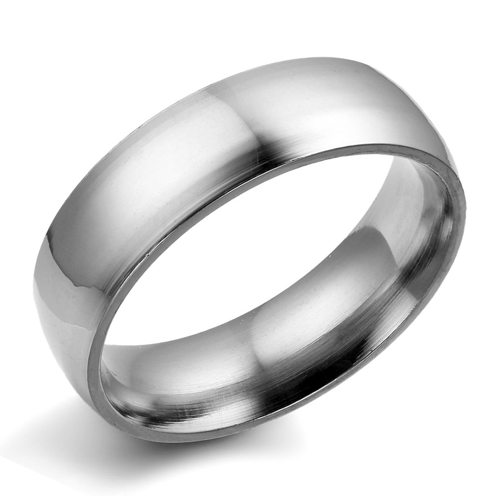 Flongo Men's Silver Plain Stainless Steel Couples Engagement Wedding Band Ring, Size 7