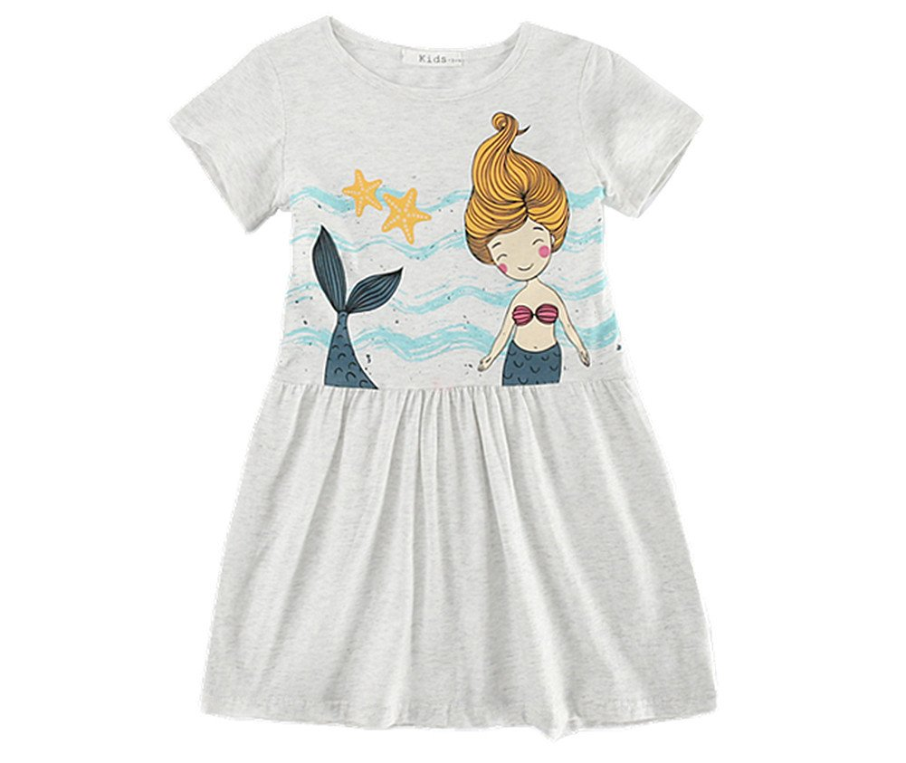 Comfybuy Soft Cute Casual T Shirt Mermaid Dress for Baby Teen Girls Free Hairpin 3-4Y