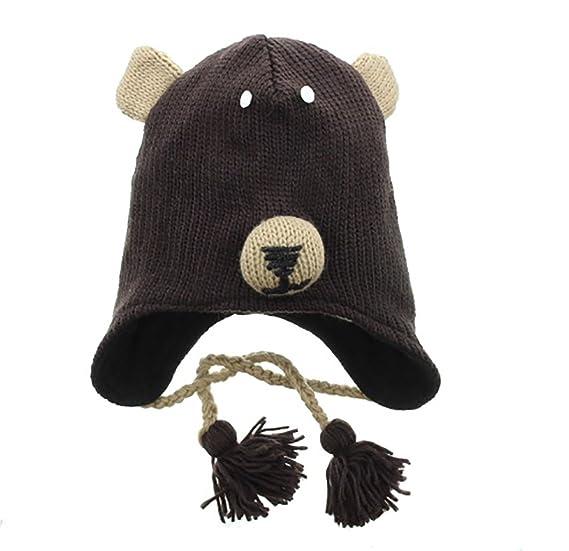 ea8f7a1a19af6e Amazon.com: Super Cute Animal Face Knit Winter Earflap Hat Brown Bear:  Clothing