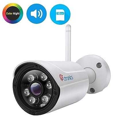 Ctronics (CNV) Cámara IP de visión nocturna en color, Cámara de vigilancia inalámbrica WIFI Cámara de vigilancia IP65, Audio ...