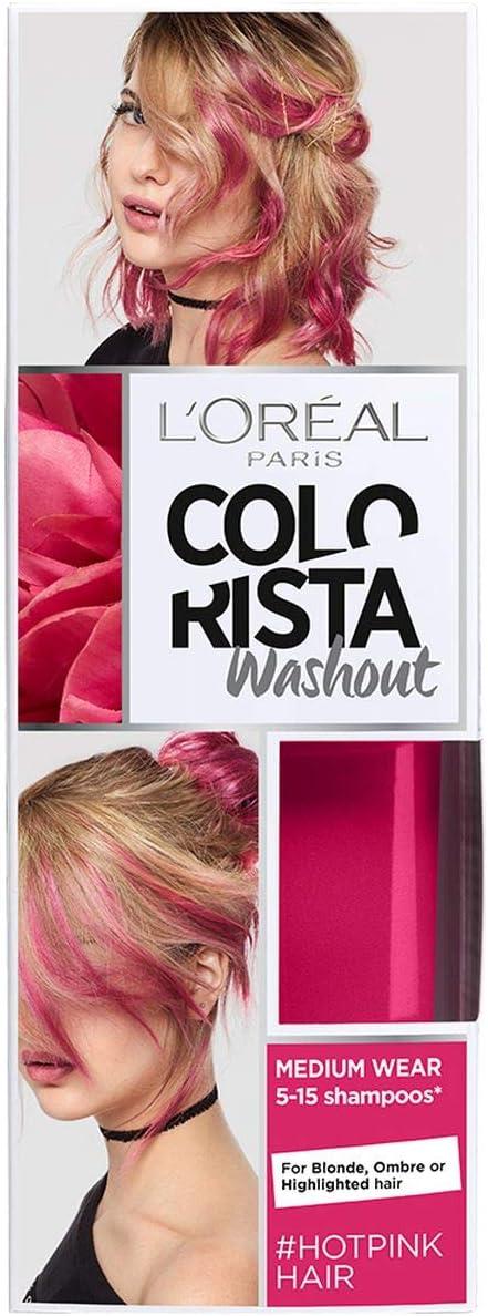LOreal Paris Colorista Coloración Temporal Tono Washout Hot Pink Hair, 80 ml
