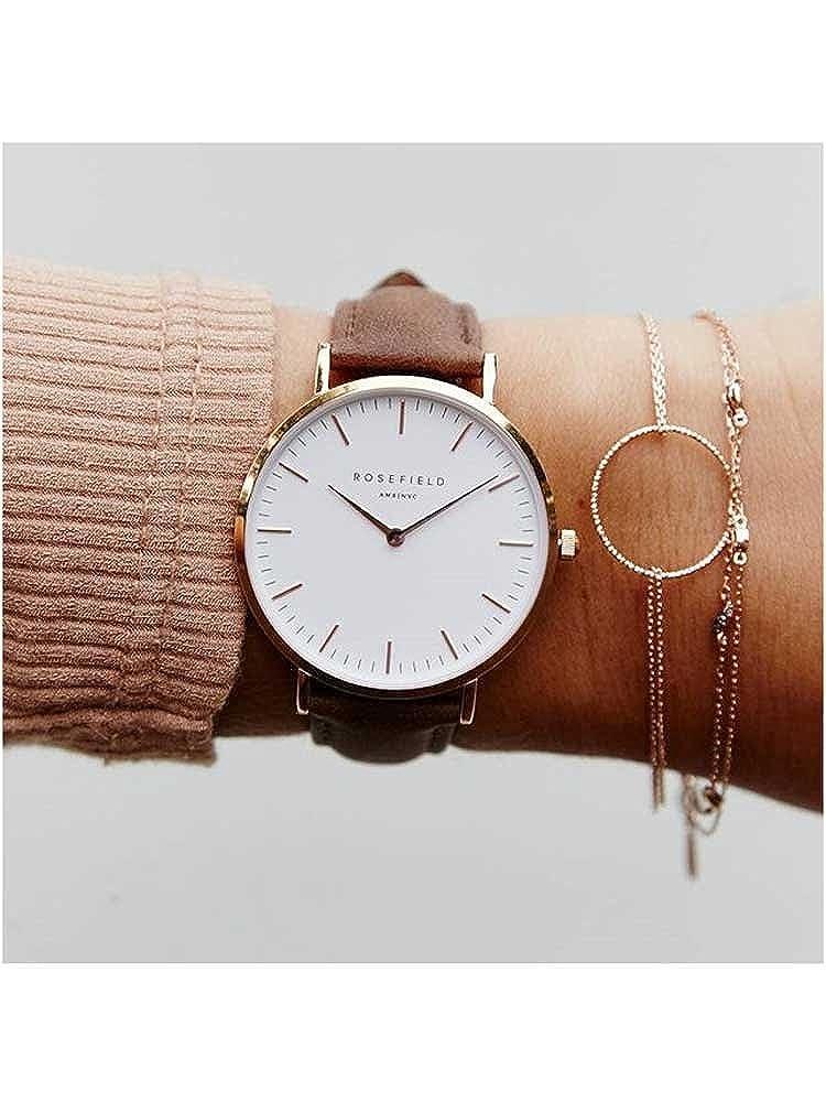 Rosefield BWBRR-B3 Bowery Uhr Damenuhr Lederarmband vergoldet 3 bar Analog Braun: Amazon.es: Relojes