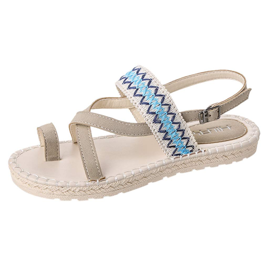 Thenxin Bohemian Cloth Open Toe Flat Sandals for Women's Ethnic Beach Shoes (Beige,7 US) by Thenxin-sandals