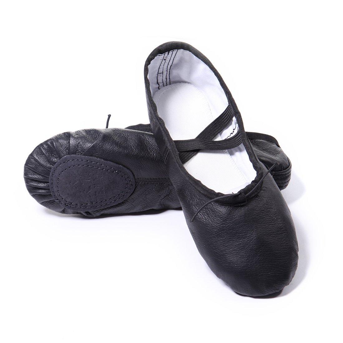 DoGeek Chaussure Ballet Ballerine Noire Chaussure de Danse Chaussures Pilates Chausson Cuir...