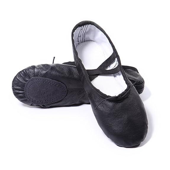 DoGeek Gute Qualität Ballettschuhe Echtes Leder Balletschläppchen weich Ballet Trainings Schläppchen Schuhe mit Gummibänder f
