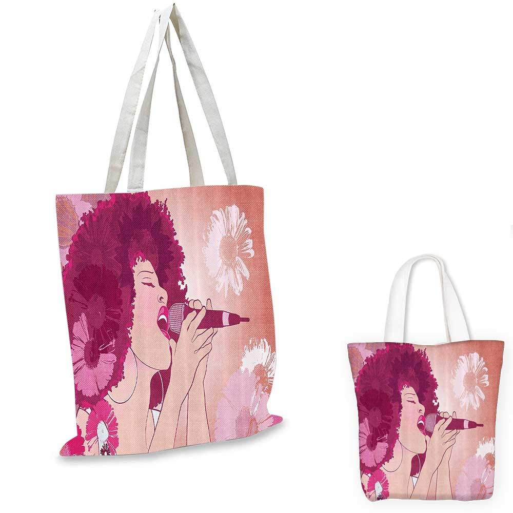 Music canvas messenger bag Afro Woman Singing Jazz Songs on Exotic Floral Background Performance Art canvas beach bag Magenta Peach Coral 12x15-10